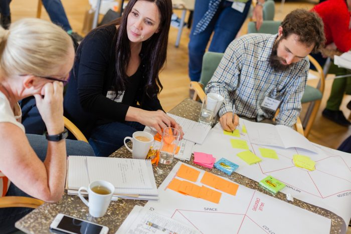 Workshop attendees working on the Coworking canvas