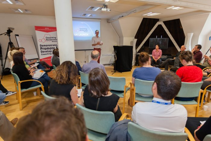 Will Tyler-Greig speaking at the UK Launch of the Coworking Accelerator Network