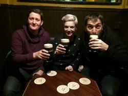 Claire, Sam & David enjoying a well-earned pint of Dublin's best