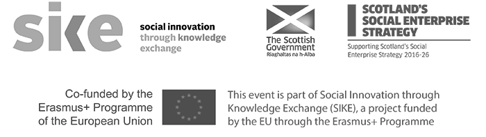 SIKE Social Innovation through Knowledge Exchange co-funded by the Erasmus+ Program of the European Union, The Scottish Government, Scotland's Social Enterprise Strategy