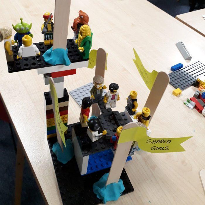 Shared Goals - lego figures working together under a flag of 'Shared Goals'