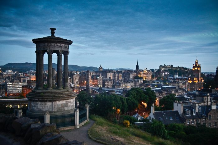 View from the top of calton hill looking across Edinburgh